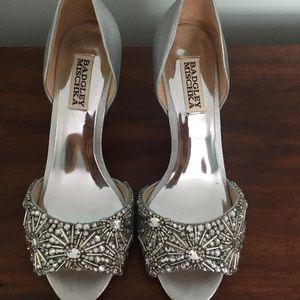 Badgley Mischka Maria Embellished Heel- Silver